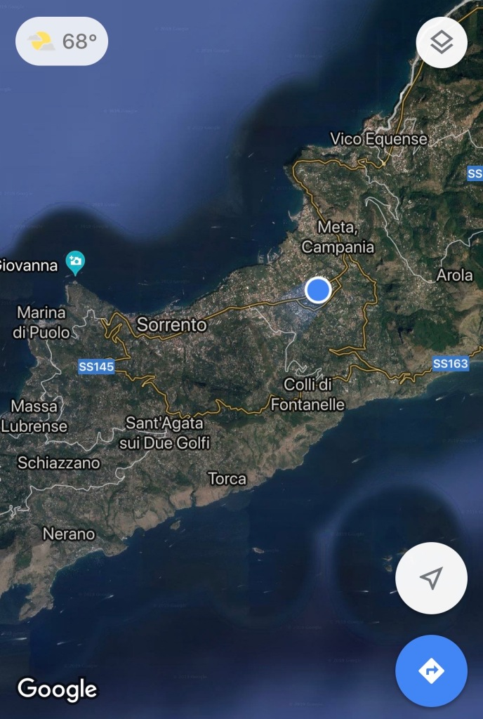 screenshot of a bus ride from positano to sorrento italy