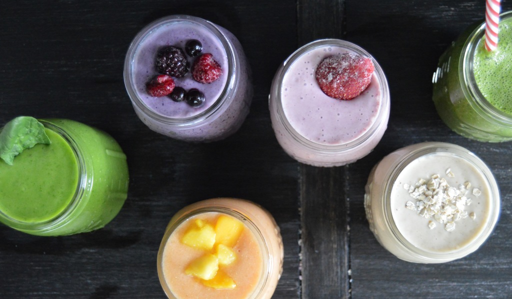 different kinds of smoothies green peach berry strawberry rolled oats